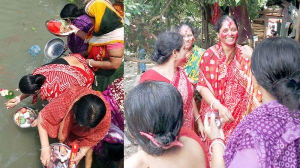কলাপাড়ায় চৈত্র সংক্রান্তিতে গঙ্গা পূজা করেছে সনাতন ধর্মাবলম্বীরা