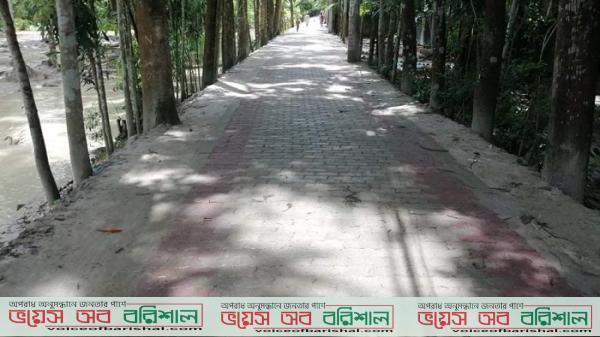 বরগুনায় প্রথমবারের মতো নির্মাণ করা হয়েছে ইউনিব্লকের রাস্তা
